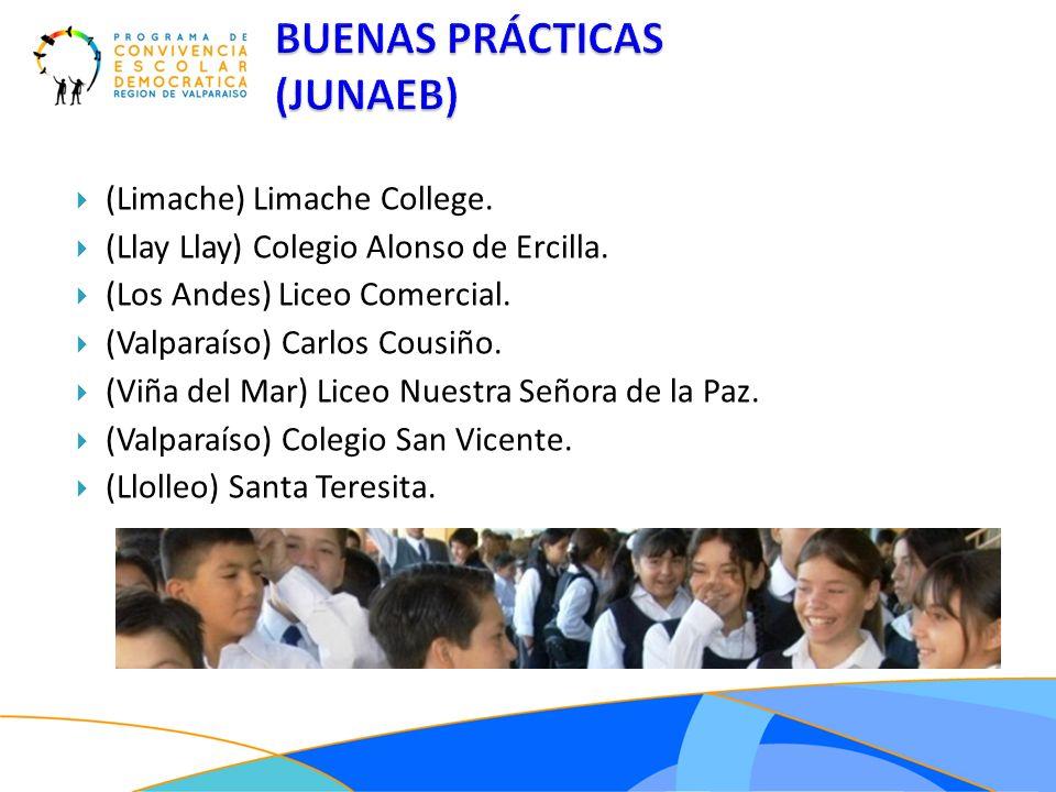 (Limache) Limache College. (Llay Llay) Colegio Alonso de Ercilla. (Los Andes) Liceo Comercial. (Valparaíso) Carlos Cousiño. (Viña del Mar) Liceo Nuest