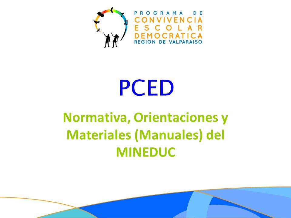 PCED Normativa, Orientaciones y Materiales (Manuales) del MINEDUC