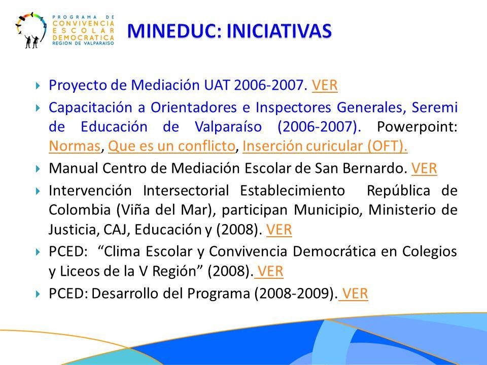 Proyecto de Mediación UAT 2006-2007. VERVER Capacitación a Orientadores e Inspectores Generales, Seremi de Educación de Valparaíso (2006-2007). Powerp