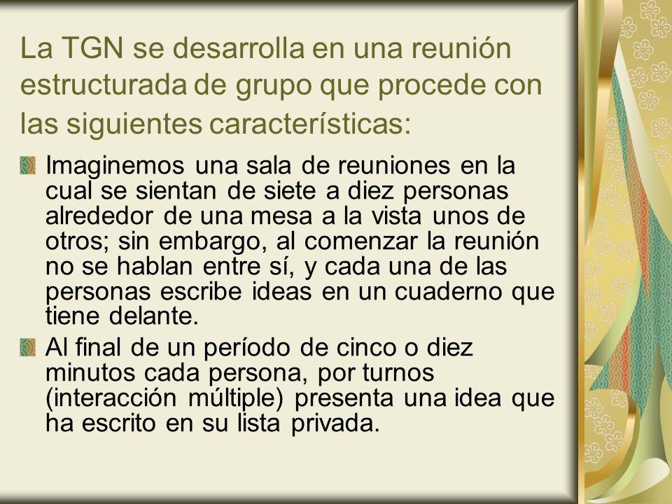 La TGN se desarrolla en una reunión estructurada de grupo que procede con las siguientes características: Imaginemos una sala de reuniones en la cual