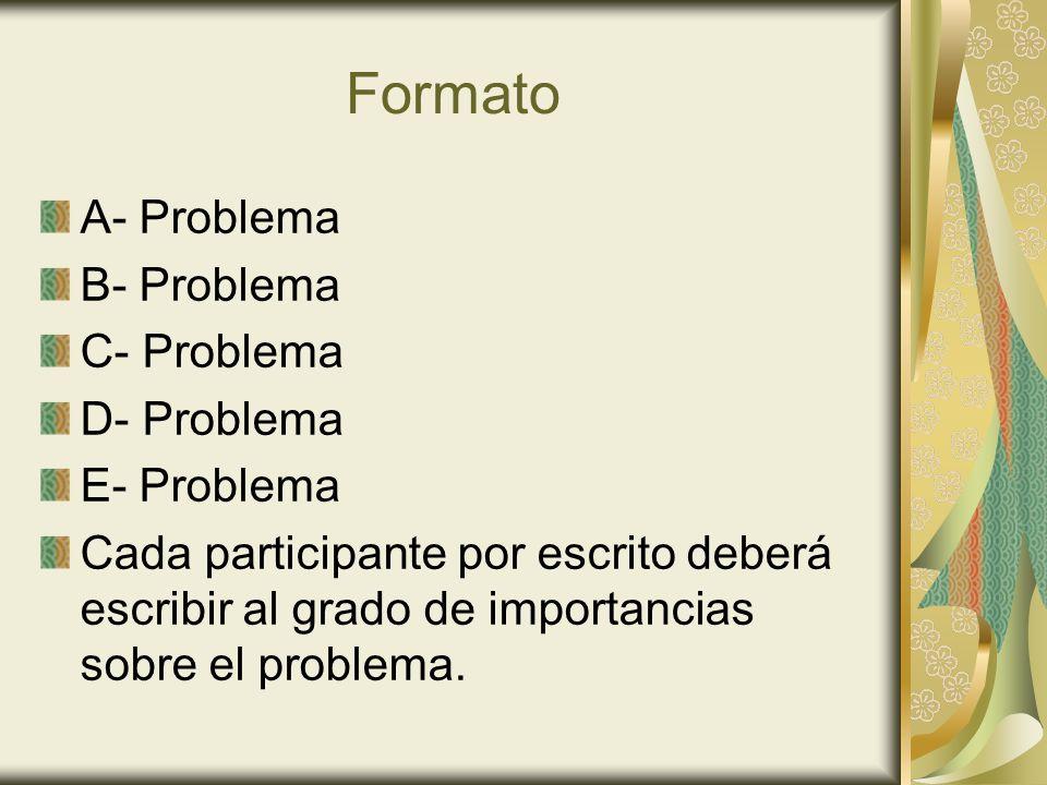 Formato A- Problema B- Problema C- Problema D- Problema E- Problema Cada participante por escrito deberá escribir al grado de importancias sobre el pr