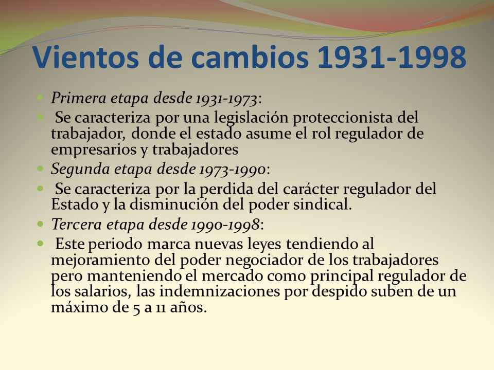 Vientos de cambios 1931-1998 Primera etapa desde 1931-1973: Se caracteriza por una legislación proteccionista del trabajador, donde el estado asume el