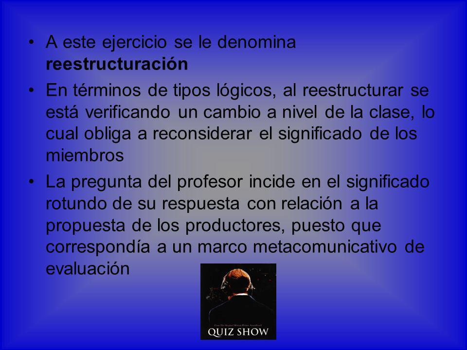 A este ejercicio se le denomina reestructuración En términos de tipos lógicos, al reestructurar se está verificando un cambio a nivel de la clase, lo