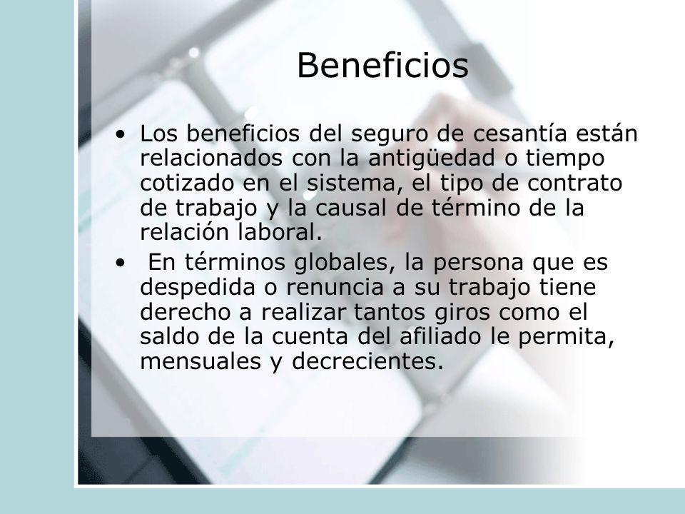 Beneficios Los beneficios del seguro de cesantía están relacionados con la antigüedad o tiempo cotizado en el sistema, el tipo de contrato de trabajo