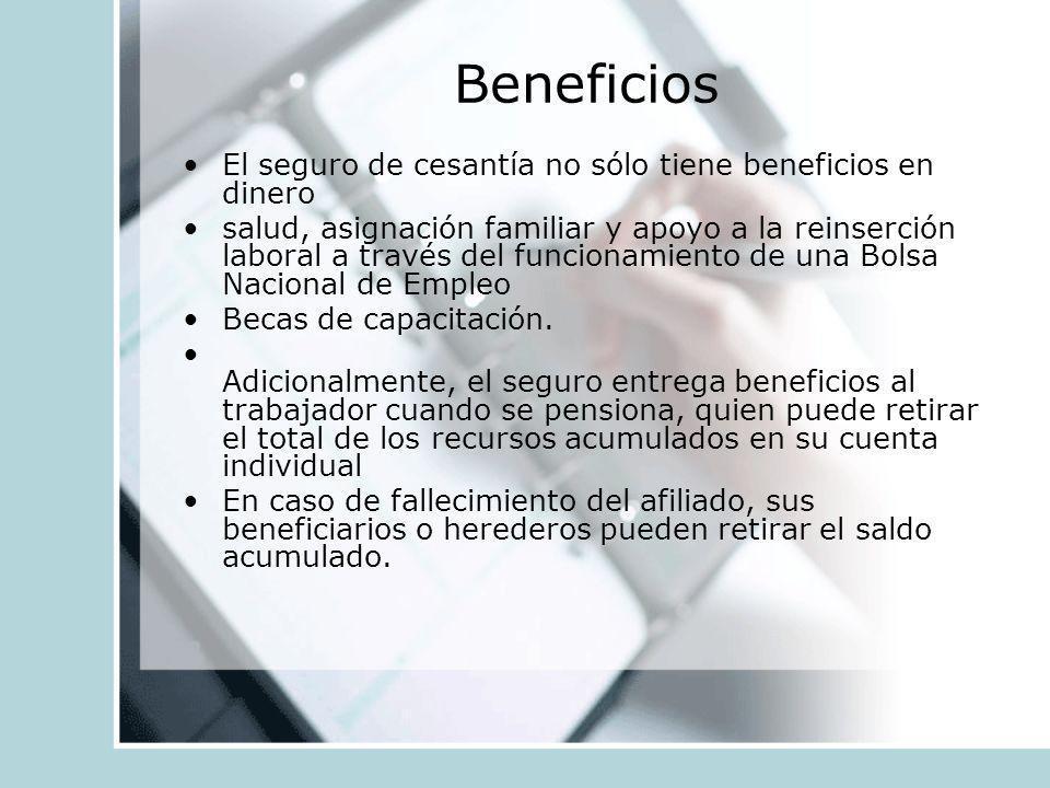 Beneficios El seguro de cesantía no sólo tiene beneficios en dinero salud, asignación familiar y apoyo a la reinserción laboral a través del funcionam