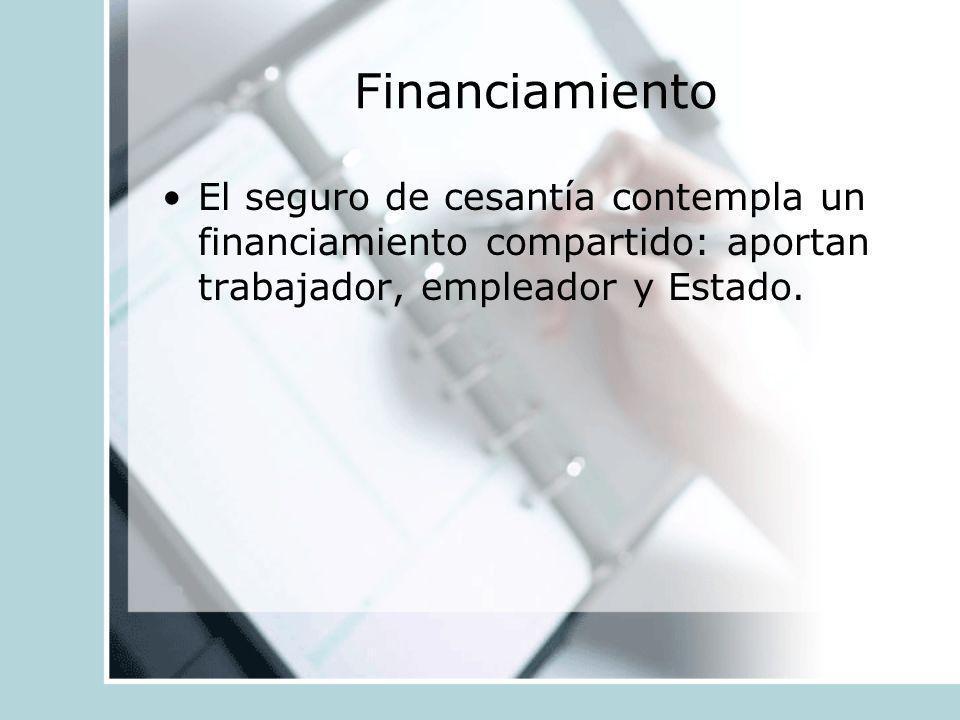 Financiamiento El seguro de cesantía contempla un financiamiento compartido: aportan trabajador, empleador y Estado.