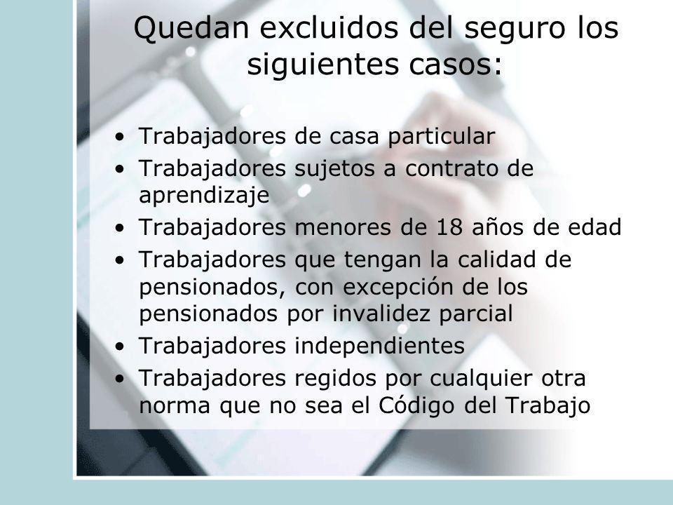 Quedan excluidos del seguro los siguientes casos: Trabajadores de casa particular Trabajadores sujetos a contrato de aprendizaje Trabajadores menores