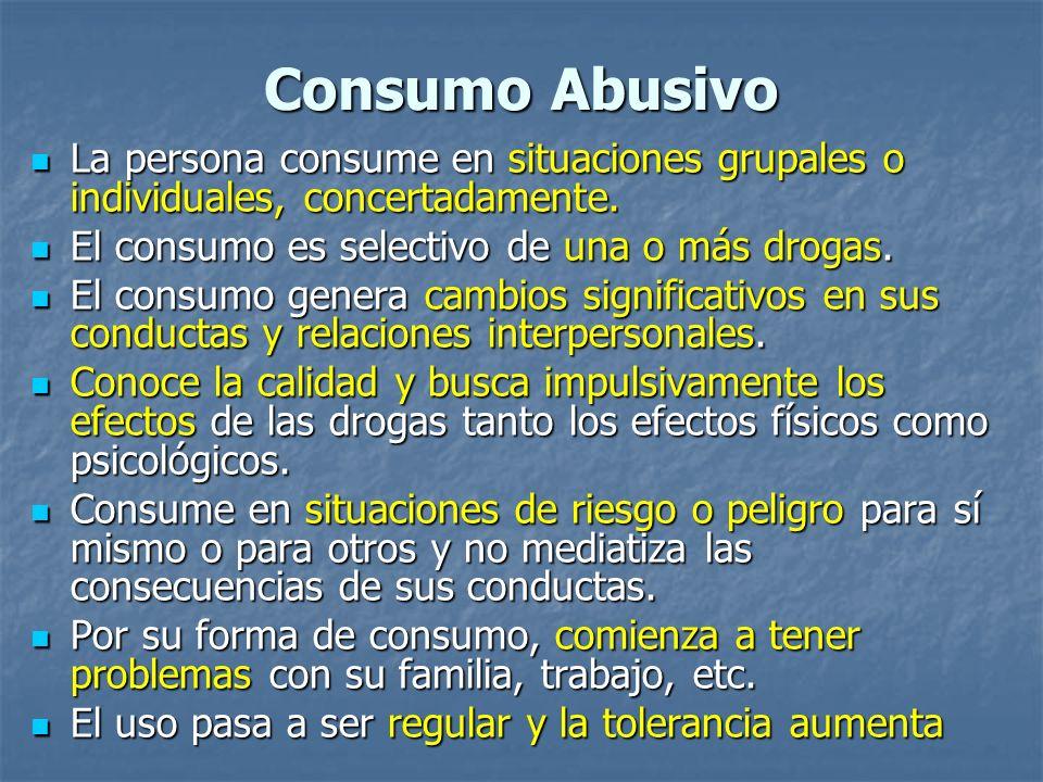 Consumo Abusivo La persona consume en situaciones grupales o individuales, concertadamente. La persona consume en situaciones grupales o individuales,