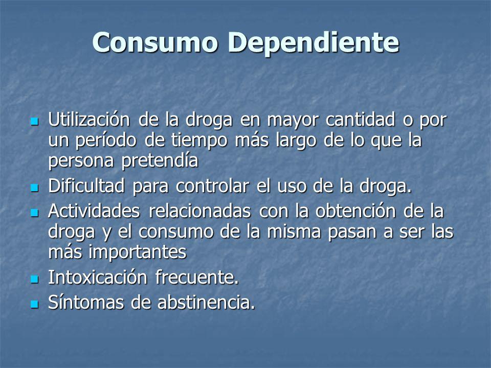 Consumo Dependiente Utilización de la droga en mayor cantidad o por un período de tiempo más largo de lo que la persona pretendía Utilización de la dr