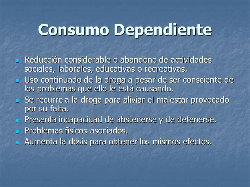 Consumo Dependiente Reducción considerable o abandono de actividades sociales, laborales, educativas o recreativas. Reducción considerable o abandono
