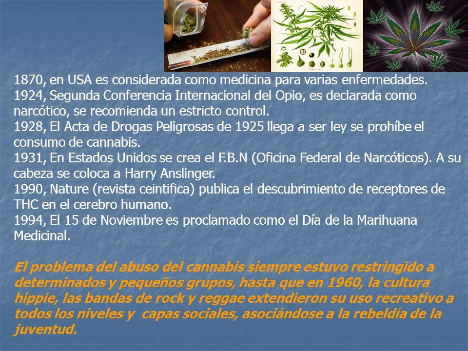 1870, en USA es considerada como medicina para varias enfermedades. 1924, Segunda Conferencia Internacional del Opio, es declarada como narcótico, se