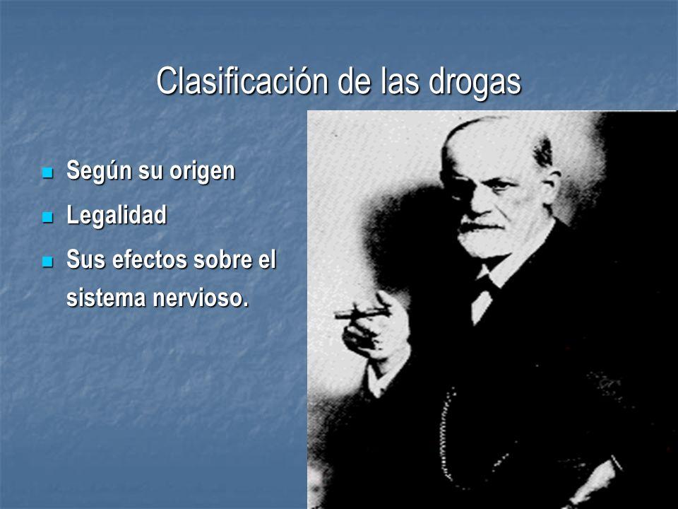 CLASIFICACION DE LAS DROGAS Según su Categoría como sustancias: Según su Categoría como sustancias: Legales: cola, te, café, tabaco y alcohol.