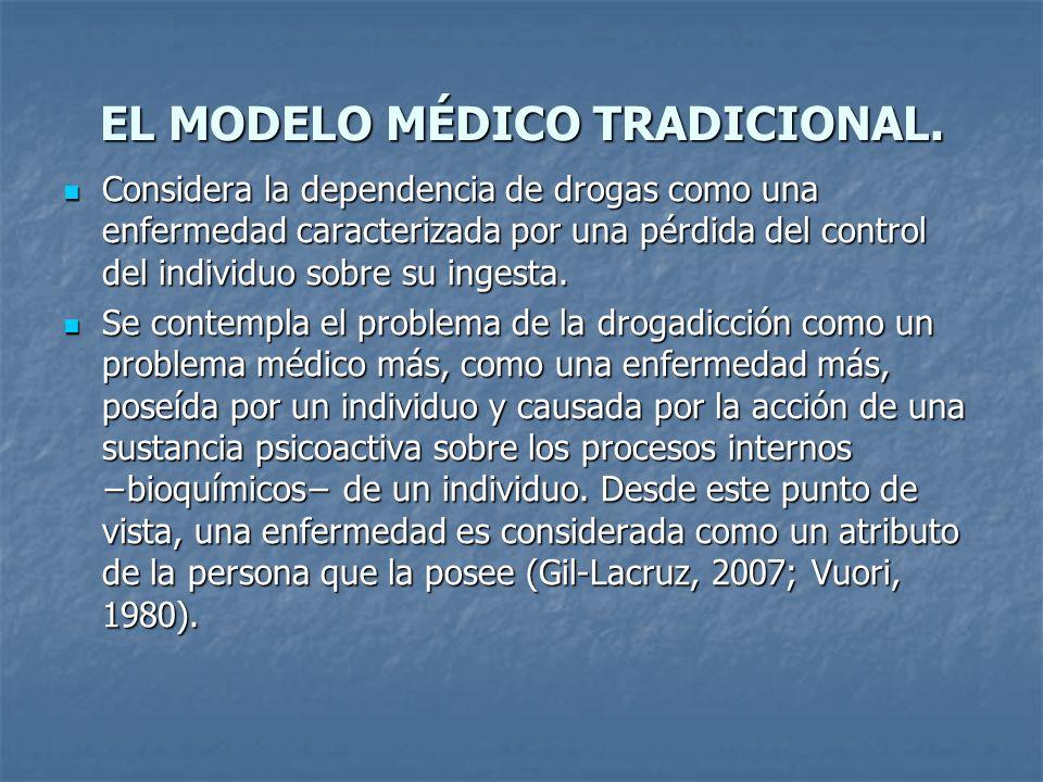 EL MODELO MÉDICO TRADICIONAL. Considera la dependencia de drogas como una enfermedad caracterizada por una pérdida del control del individuo sobre su