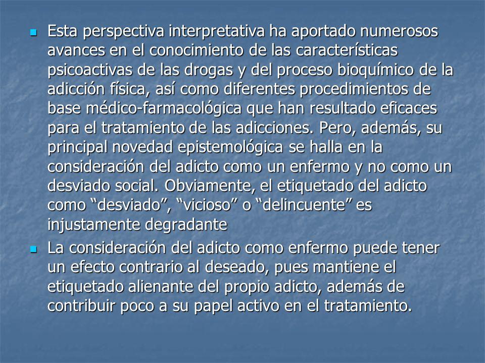 Esta perspectiva interpretativa ha aportado numerosos avances en el conocimiento de las características psicoactivas de las drogas y del proceso bioqu