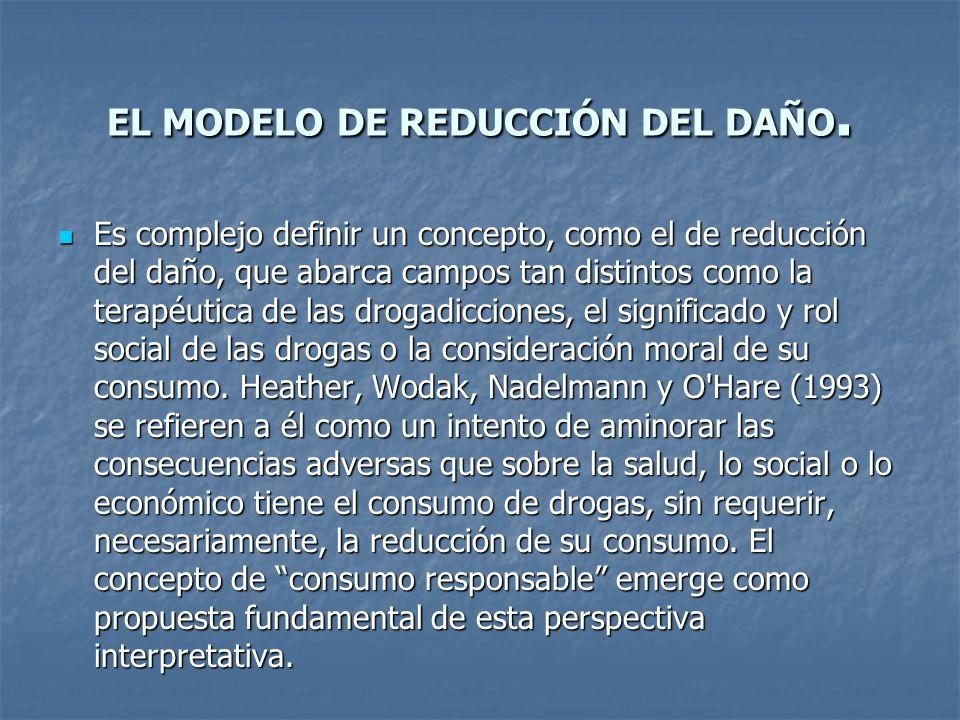 EL MODELO DE REDUCCIÓN DEL DAÑO. Es complejo definir un concepto, como el de reducción del daño, que abarca campos tan distintos como la terapéutica d