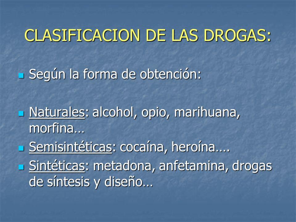 CLASIFICACION DE LAS DROGAS: Dependiendo de la acción que provocan las drogas en el organismo: Estimulantes, excitantes o simpaticomiméticas: cocaína, anfetaminas, cafeína, nicotina.