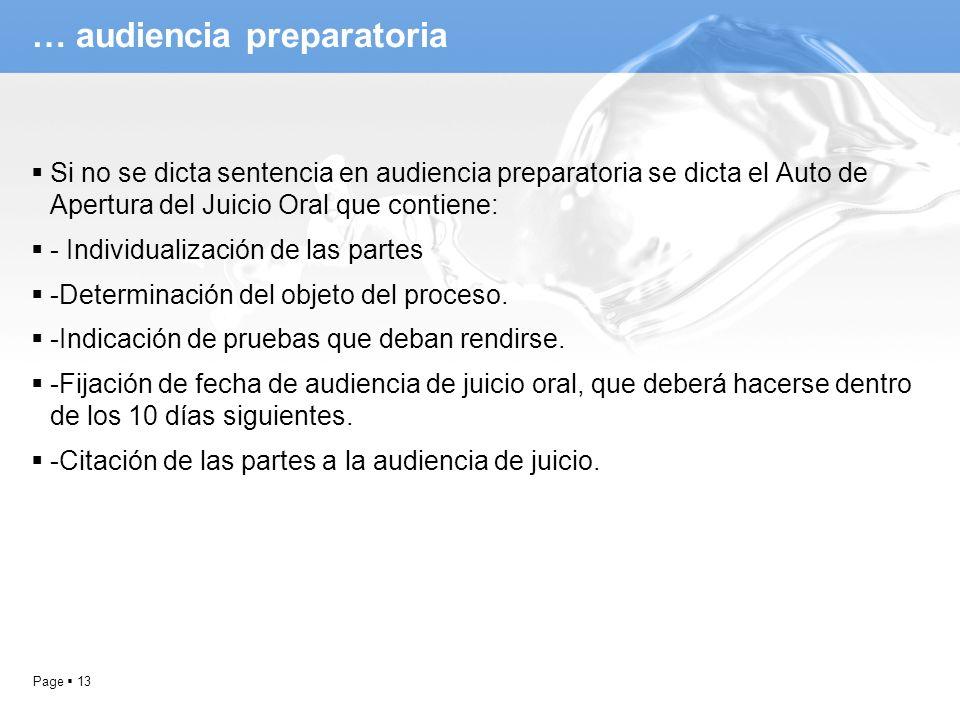 Page 13 … audiencia preparatoria Si no se dicta sentencia en audiencia preparatoria se dicta el Auto de Apertura del Juicio Oral que contiene: - Indiv