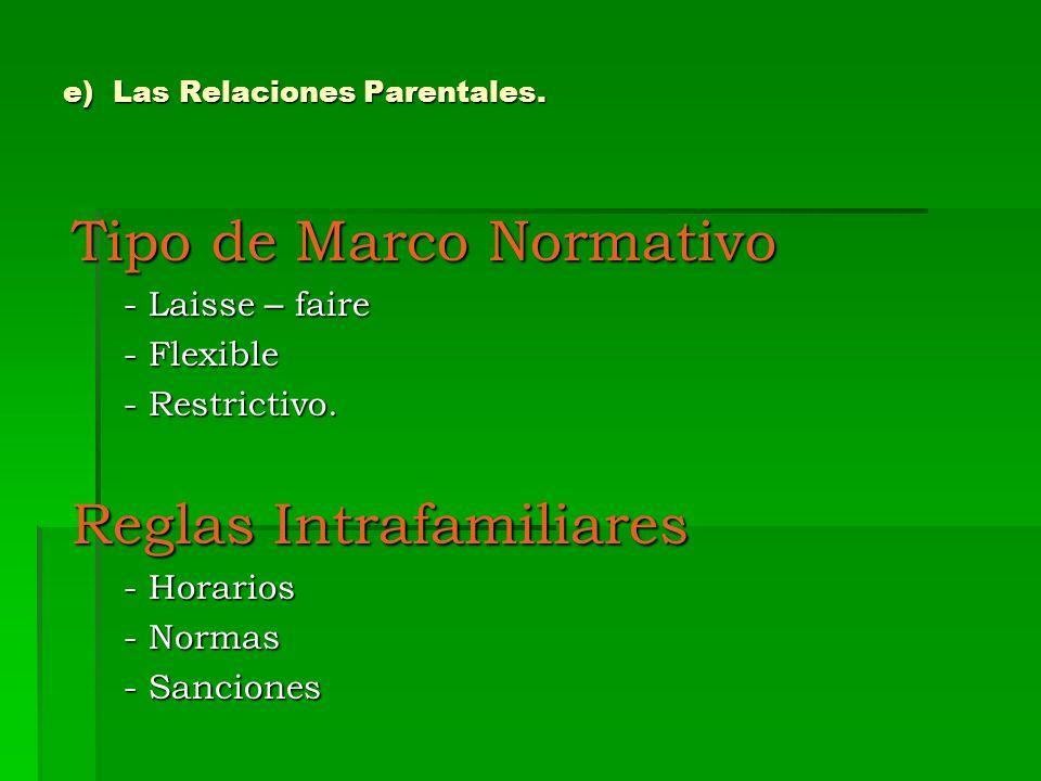 e) Las Relaciones Parentales. Tipo de Marco Normativo - Laisse – faire - Flexible - Restrictivo. Reglas Intrafamiliares - Horarios - Normas - Sancione