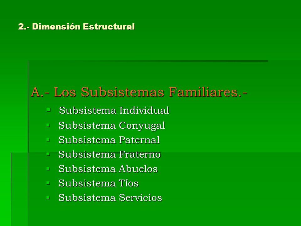 2.- Dimensión Estructural A.- Los Subsistemas Familiares.- Subsistema Individual Subsistema Individual Subsistema Conyugal Subsistema Conyugal Subsist