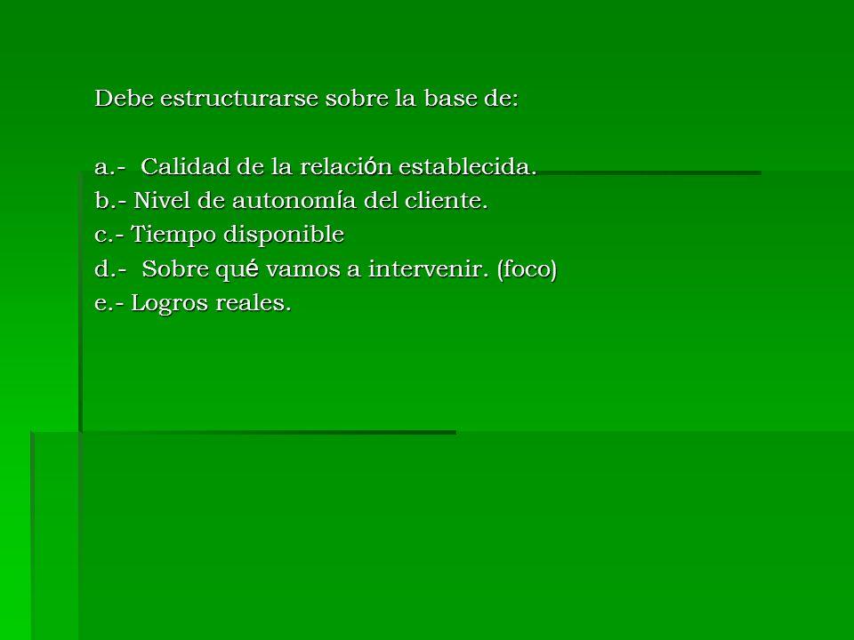 Debe estructurarse sobre la base de: a.- Calidad de la relaci ó n establecida. b.- Nivel de autonom í a del cliente. c.- Tiempo disponible d.- Sobre q