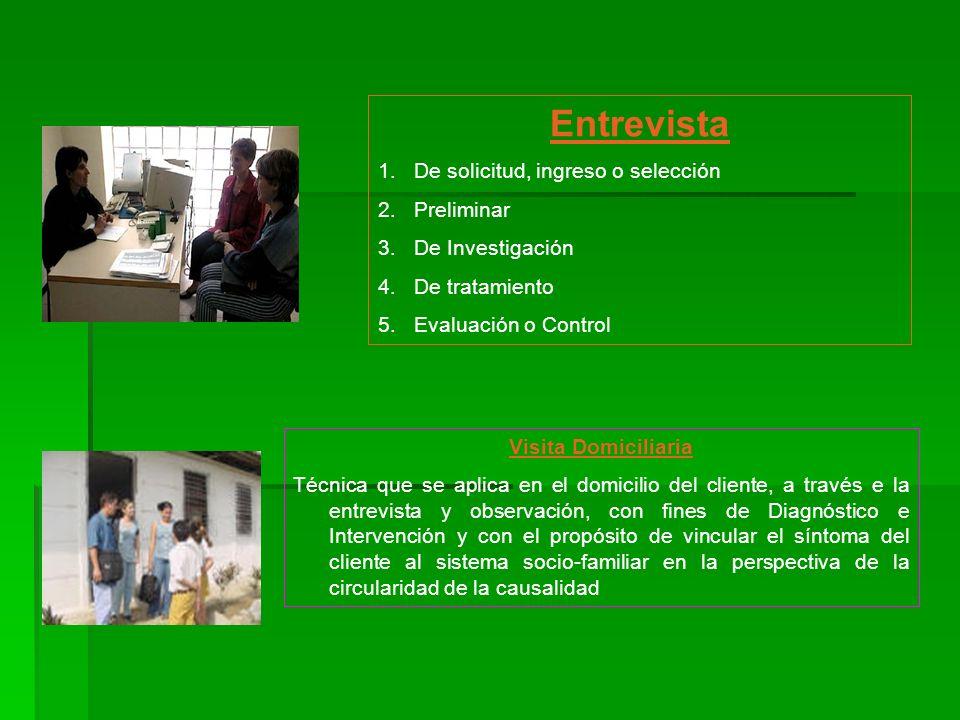 Entrevista 1.De solicitud, ingreso o selección 2.Preliminar 3.De Investigación 4.De tratamiento 5.Evaluación o Control Visita Domiciliaria Técnica que