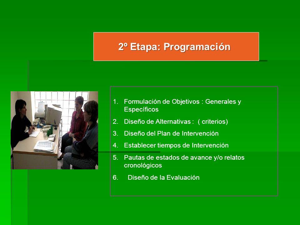 2º Etapa: Programación 1.Formulación de Objetivos : Generales y Específicos 2.Diseño de Alternativas : ( criterios) 3.Diseño del Plan de Intervención