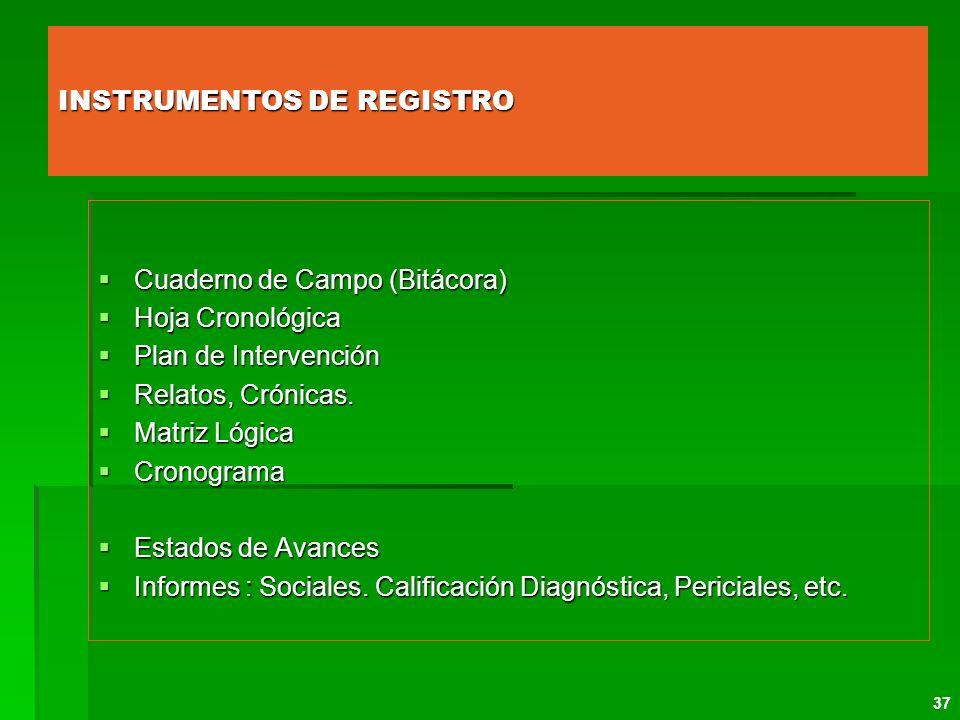 INSTRUMENTOS DE REGISTRO Cuaderno de Campo (Bitácora) Cuaderno de Campo (Bitácora) Hoja Cronológica Hoja Cronológica Plan de Intervención Plan de Inte