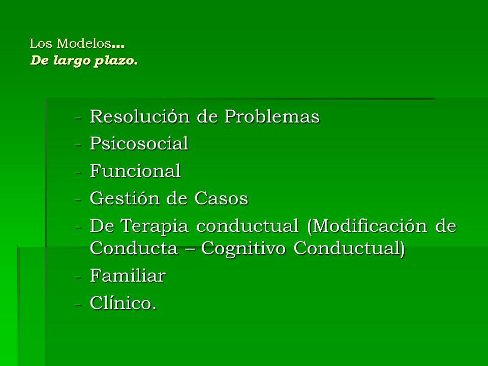 Los Modelos … De largo plazo. -Resoluci ó n de Problemas -Psicosocial -Funcional -Gestión de Casos -De Terapia conductual (Modificación de Conducta –