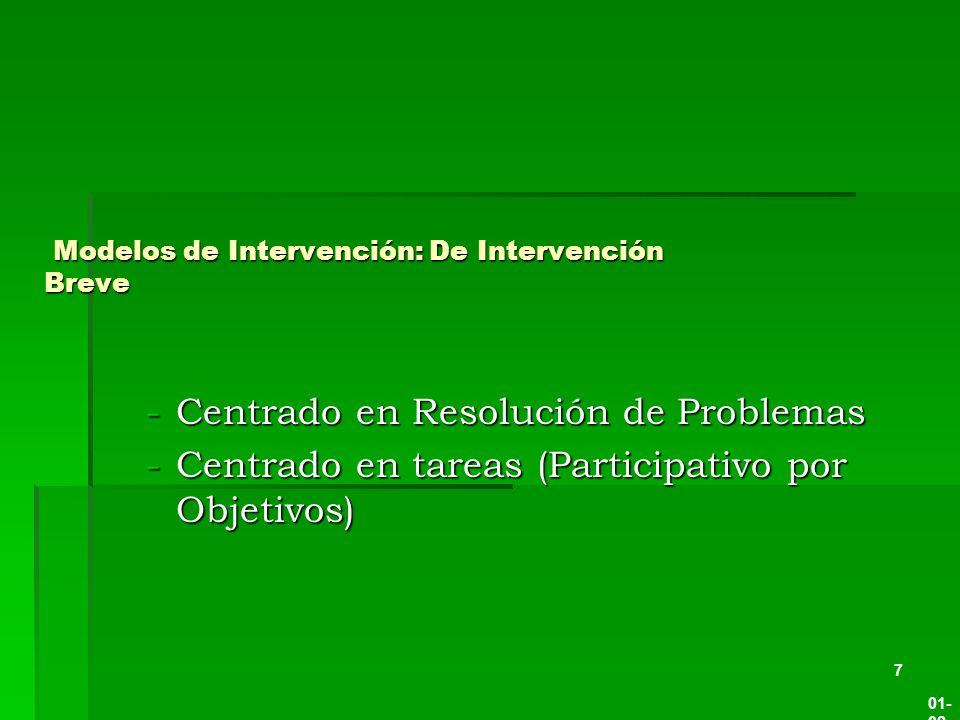 Modelos de Intervención: De Intervención Breve Modelos de Intervención: De Intervención Breve -Centrado en Resolución de Problemas -Centrado en tareas