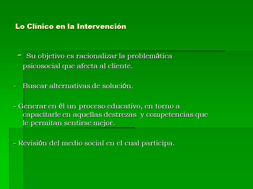 Lo Clínico en la Intervención - Su objetivo es racionalizar la problem á tica psicosocial que afecta al cliente. - Su objetivo es racionalizar la prob