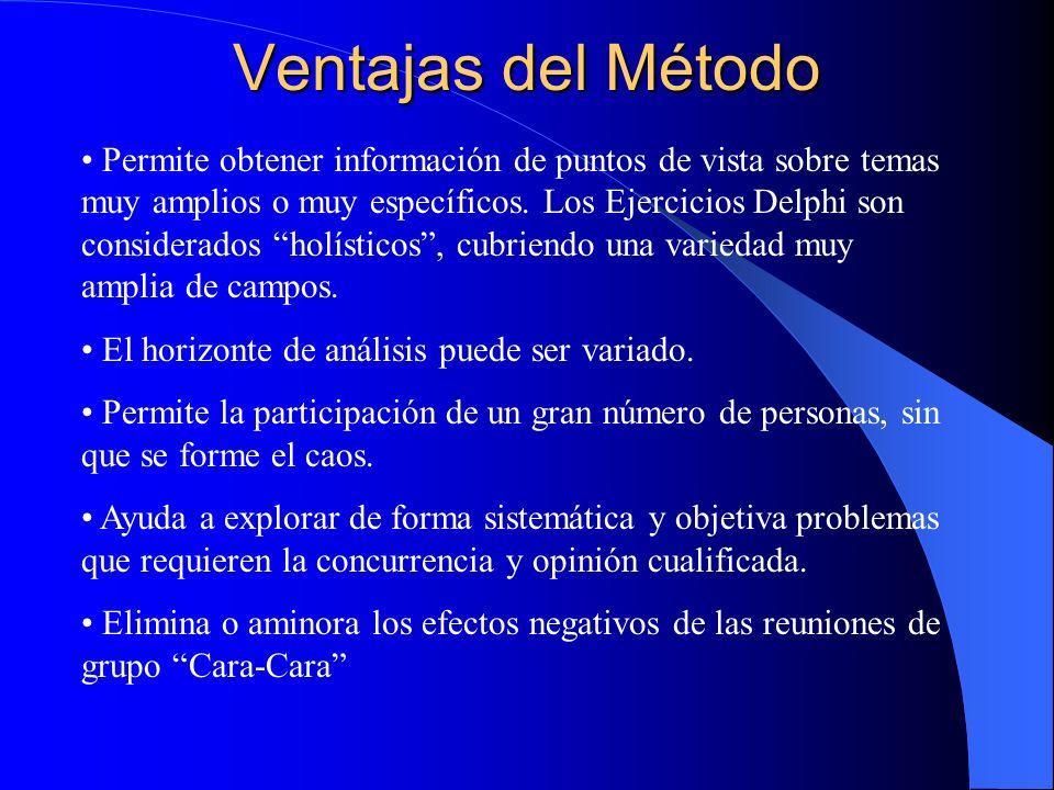 Ventajas del Método Permite obtener información de puntos de vista sobre temas muy amplios o muy específicos. Los Ejercicios Delphi son considerados h