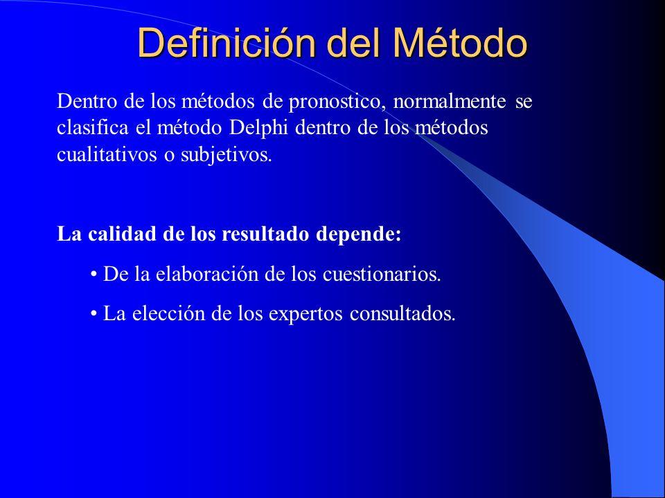 Definición del Método Dentro de los métodos de pronostico, normalmente se clasifica el método Delphi dentro de los métodos cualitativos o subjetivos.