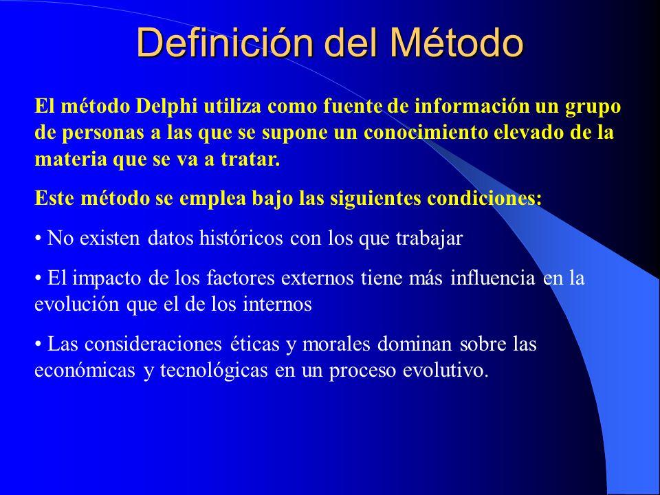 Definición del Método El método Delphi utiliza como fuente de información un grupo de personas a las que se supone un conocimiento elevado de la materia que se va a tratar.