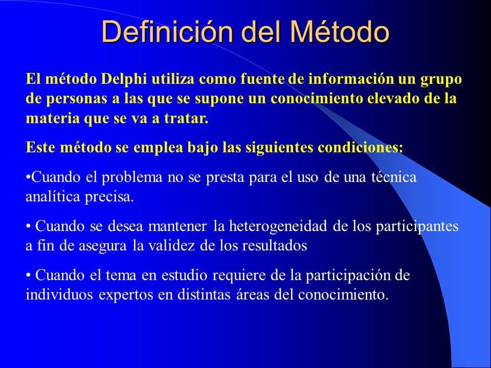 Definición del Método El método Delphi utiliza como fuente de información un grupo de personas a las que se supone un conocimiento elevado de la mater