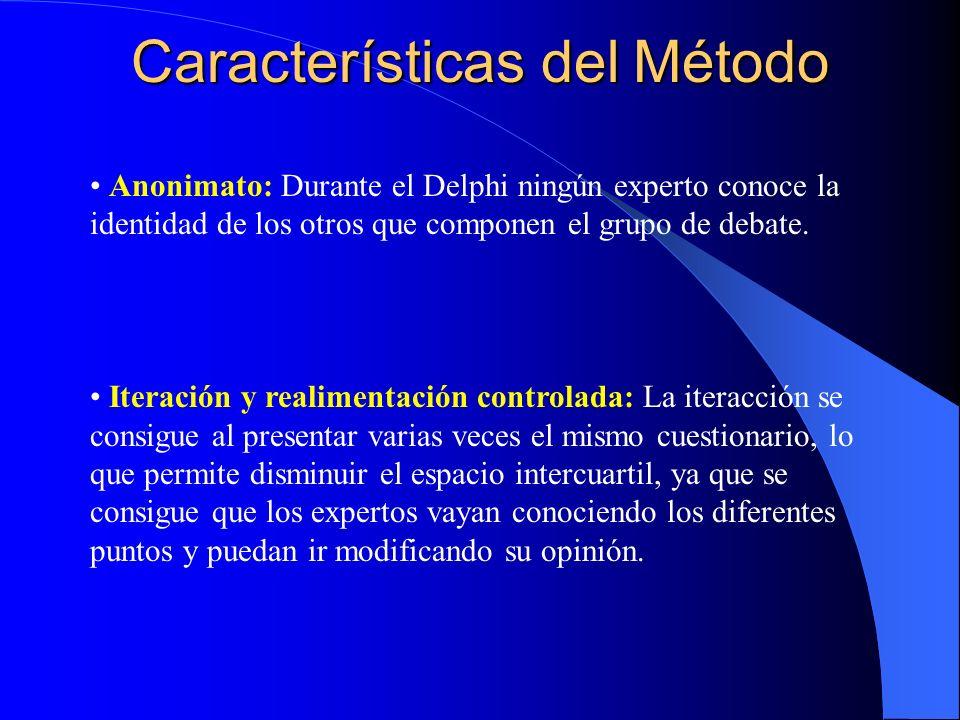 Características del Método Respuesta del grupo en forma estadística: La información que se presenta a los expertos no es solo el punto de vista de la mayoría sino que se presentan todas las opiniones indicando el grado de acuerdo que se ha obtenido.