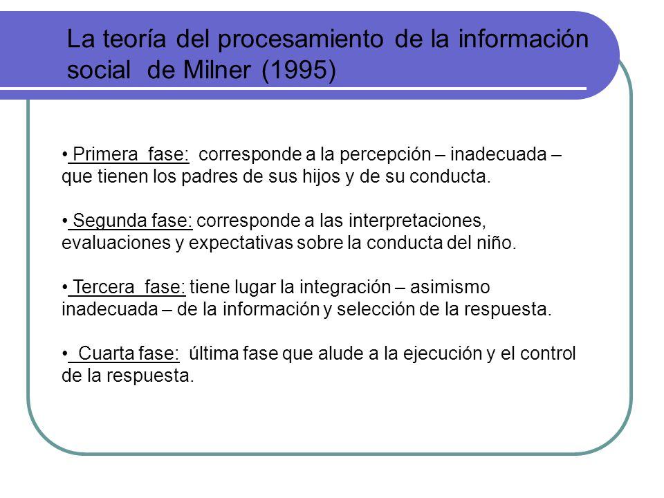 La teoría del procesamiento de la información social de Milner (1995) Primera fase: corresponde a la percepción – inadecuada – que tienen los padres d