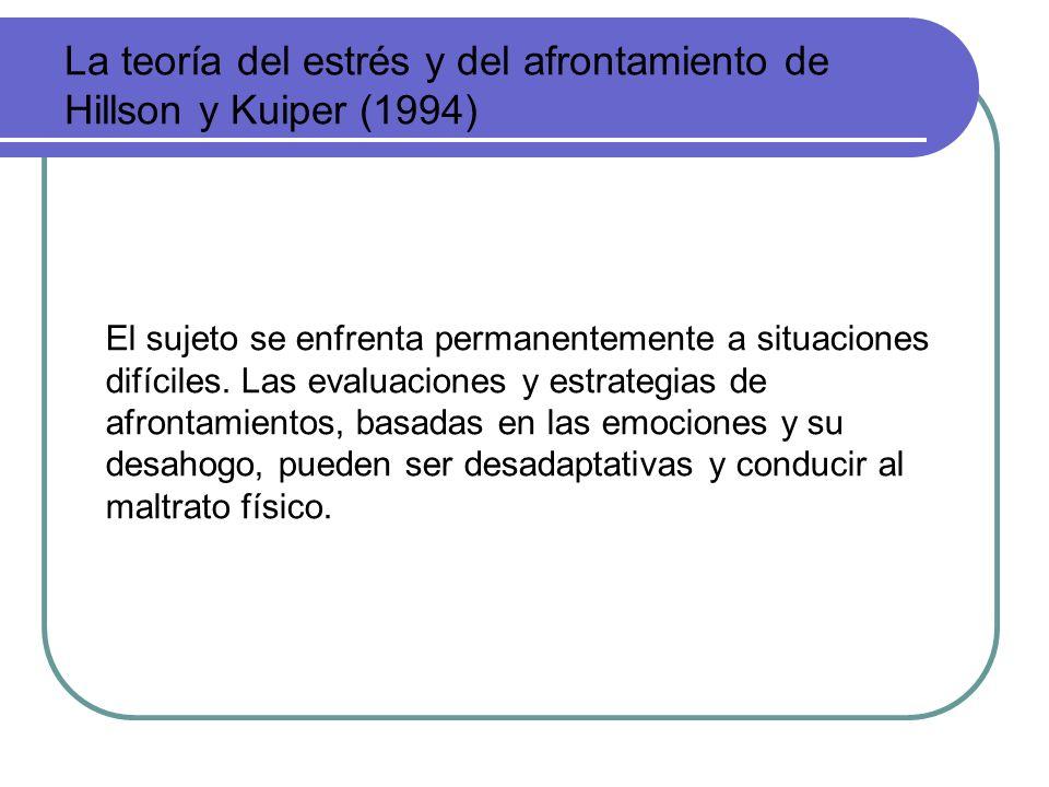 La teoría del estrés y del afrontamiento de Hillson y Kuiper (1994) El sujeto se enfrenta permanentemente a situaciones difíciles. Las evaluaciones y