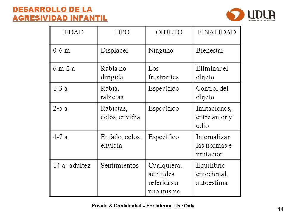Private & Confidential – For Internal Use Only 14 DESARROLLO DE LA AGRESIVIDAD INFANTIL EDADTIPOOBJETOFINALIDAD 0-6 mDisplacerNingunoBienestar 6 m-2 a