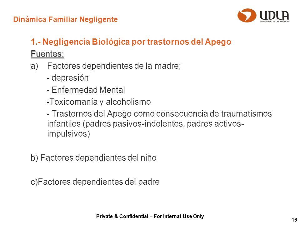 Private & Confidential – For Internal Use Only 16 Dinámica Familiar Negligente 1.- Negligencia Biológica por trastornos del ApegoFuentes: a)Factores d