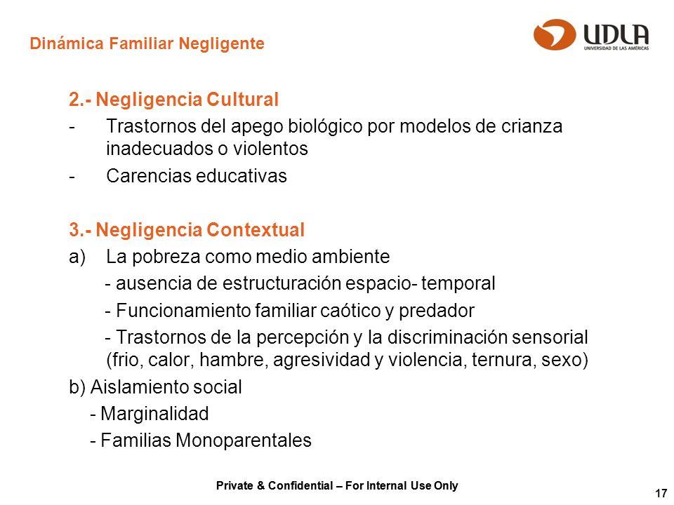Private & Confidential – For Internal Use Only 17 Dinámica Familiar Negligente 2.- Negligencia Cultural -Trastornos del apego biológico por modelos de