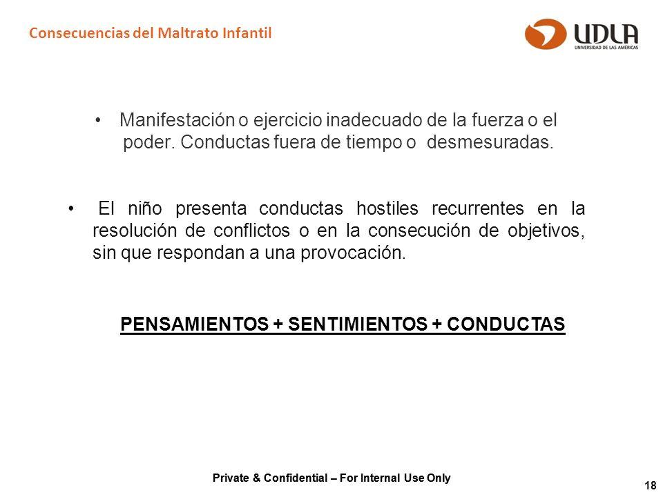 Private & Confidential – For Internal Use Only 18 Consecuencias del Maltrato Infantil Manifestación o ejercicio inadecuado de la fuerza o el poder. Co