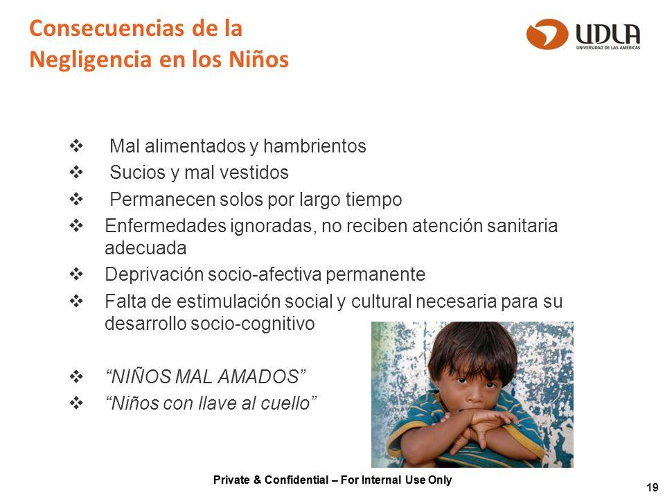 Private & Confidential – For Internal Use Only 19 Consecuencias de la Negligencia en los Niños Mal alimentados y hambrientos Sucios y mal vestidos Per