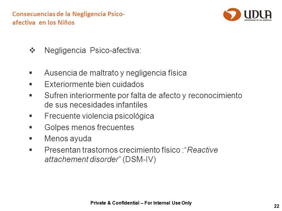 Private & Confidential – For Internal Use Only 22 Consecuencias de la Negligencia Psico- afectiva en los Niños Negligencia Psico-afectiva: Ausencia de