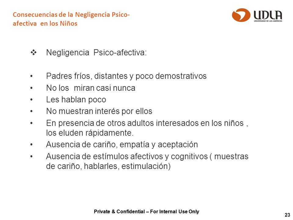Private & Confidential – For Internal Use Only 23 Consecuencias de la Negligencia Psico- afectiva en los Niños Negligencia Psico-afectiva: Padres frío