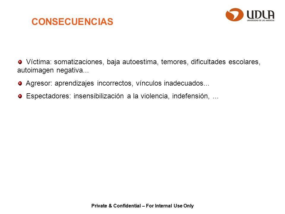 Private & Confidential – For Internal Use Only CONSECUENCIAS Víctima: somatizaciones, baja autoestima, temores, dificultades escolares, autoimagen neg
