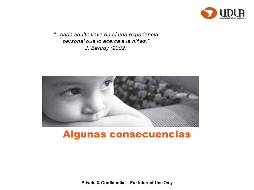 Private & Confidential – For Internal Use Only Algunas consecuencias...cada adulto lleva en sí una experiencia personal que lo acerca a la niñez. J. B