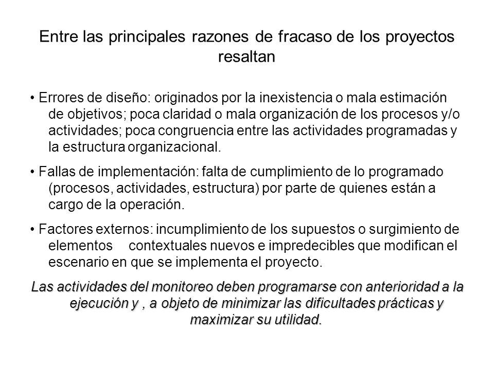 Entre las principales razones de fracaso de los proyectos resaltan Errores de diseño: originados por la inexistencia o mala estimación de objetivos; p