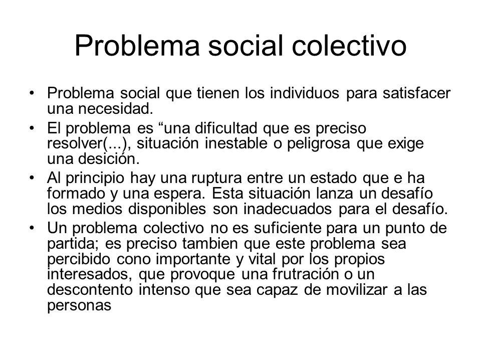 Problema social colectivo Problema social que tienen los individuos para satisfacer una necesidad. El problema es una dificultad que es preciso resolv