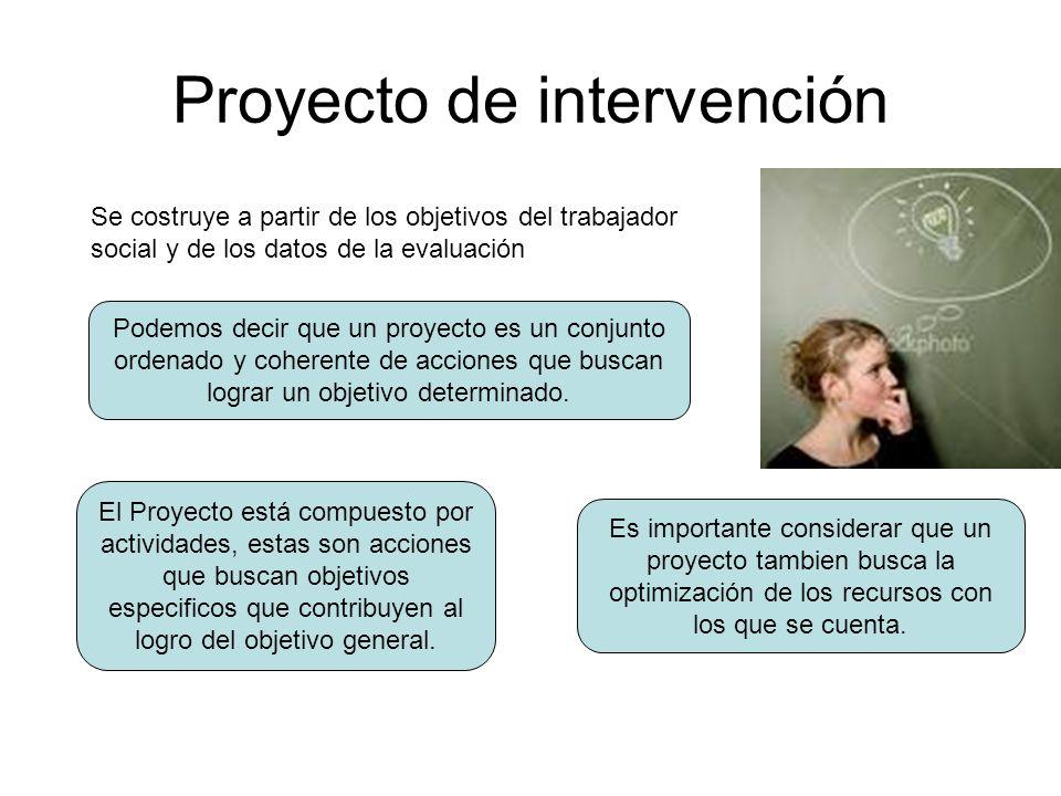 Proyecto de intervención Se costruye a partir de los objetivos del trabajador social y de los datos de la evaluación Podemos decir que un proyecto es