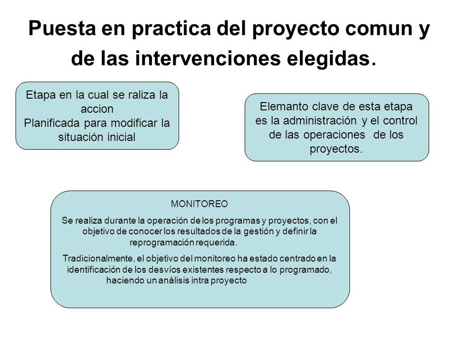 Puesta en practica del proyecto comun y de las intervenciones elegidas. Etapa en la cual se raliza la accion Planificada para modificar la situación i